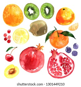 Orange, kiwi, orange, mandarin, pomegranate, apricot, cherry, blueberry, berries painted with watercolor on a white background. A colored sketch of fruits.