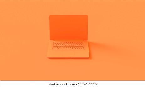 Orange Laptop 3d illustration 3d render