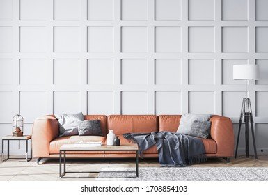 Orange leather sofa in Scandinavian living room with gray wooden wall paneling, home decor, 3D render, 3D illustration