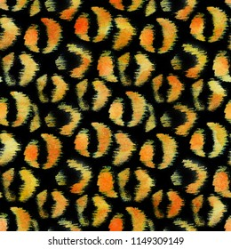 Orange leopard spots on black background. Inverse jaguar print. Raster hand painted seamless texture