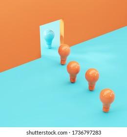 orange light bulbs follow a one blue light bulb. 3D Render. Minimal idea concept creative.