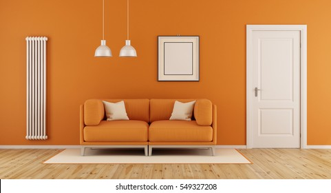 Orange living room with modern couch,closed door and vertical heater-3d rendering