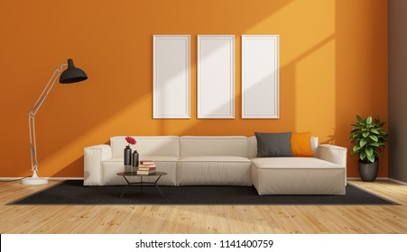 Orange living room with white sofa and floor lamp - 3d rendering