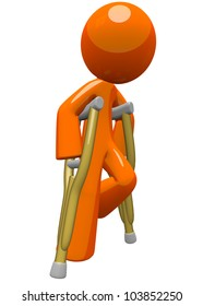 An orange man with crutches, moving about and finding his way. He is still a little challenged with his break and fractures, but still on the way to recovery!