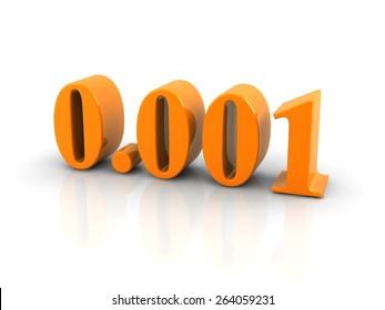 orange metallic number 0.001 on white background.digitally generated image.