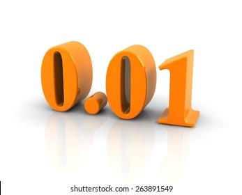 orange metallic number 0.01 on white background.digitally generated image.