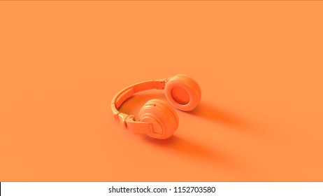 orange modern headphones 3d illustration 260nw 1152703580