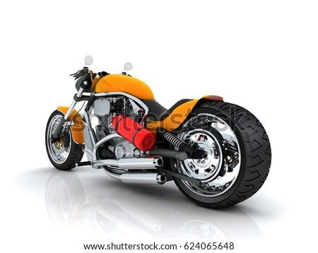 motorcycle background d  Orange Motorcycle On White Background 3 D Stock Illustration ...