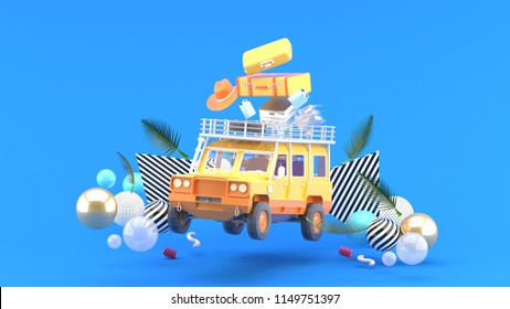 An orange off-road vehicle with luggage and colorful balls on a blue background.-3d rendering.