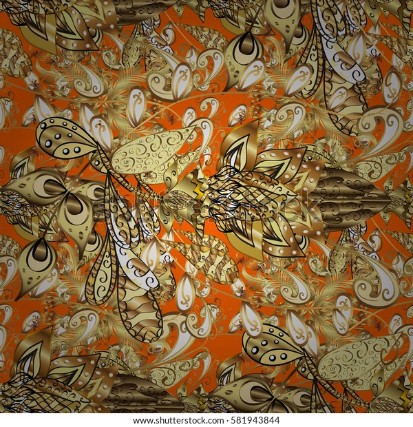 Orange on background. Oriental ornament in the style of baroque. Traditional classic golden pattern.