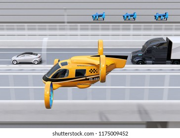 Orange Passenger Drone Taxi, fleet of delivery drones flying along with truck driving on the highway. 3D rendering image.