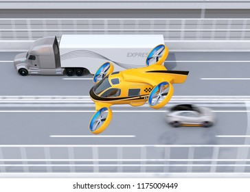 Orange Passenger Drone Taxi flying beside American truck on highway. 3D rendering image.