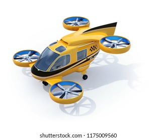 Orange Passenger Drone Taxi isolated on white background. 3D rendering image.