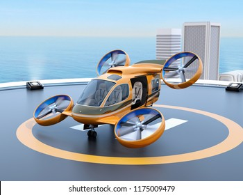 Orange Passenger Drone Taxi takeoff from helipad on the roof of a skyscraper. 3D rendering image.
