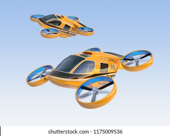 Orange Passenger Drone Taxis flying in the sky. 3D rendering image.