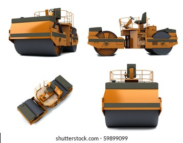 Orange paving machine isolated on white background