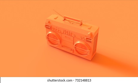 Orange / Peach Boombox / 3d illustration / 3d rendering