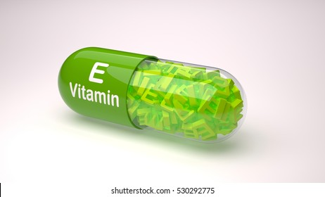 Orange pill or capsule filled with vitamin E.3D Rendering.