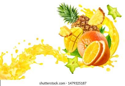 Orange, pineapple, mango fruit juices liquid 3D splash mix. Healthy fruits juice or smoothie splash label ad banner design with orange, pineapple, mango fruits and juice splash wave isolated on white