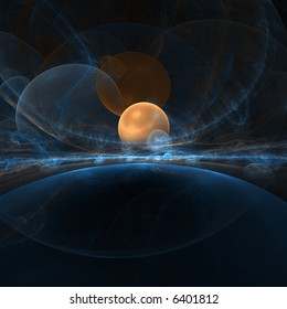 orange planet in space