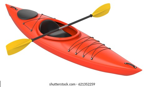 Orange plastic kayak with yellow paddle. 3D render, isolated on white background.