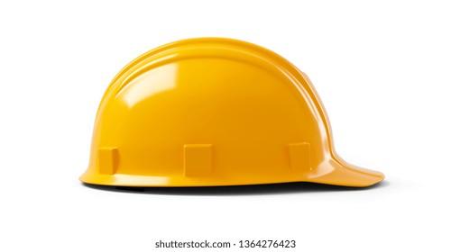 orange Plastic safety helmet on white background. 3d illustration, 3d rendering