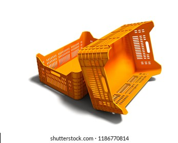 Orange plastic two boxes of empty perspective look 3d render on white background with shadow