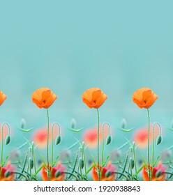 orange poppy flower design for frock