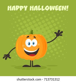 Orange Pumpkin Cartoon Emoji Character Waving. Raster Illustration Flat Design Style With Background And Text Happy Halloween