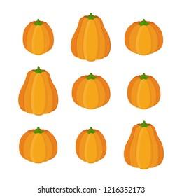 Orange pumpkin, Halloween symbol. Garden autumn product - gourd. Made in cartoon flat style