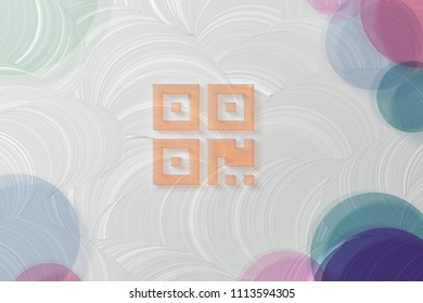Orange Qrcode Icon on the White Painted Oil Background. 3D Illustration of Orange Barcode, Code, Qr, Qrcode, Quick Response, Scan Icon Set on the White Background.