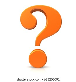 orange question mark 3d isolated on white background rendered as icon or symbol in high resolution for print internet and presentation