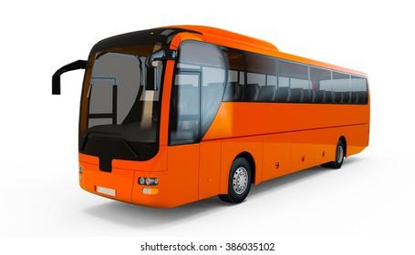 Orange Red big tour bus isolated on white background