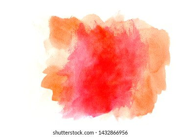 orange and red mixed watercolor abstract strokes on white background.A pattern of watercolor spots for design