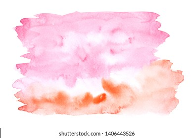 orange red watercolor stain shades paint stroke on white background