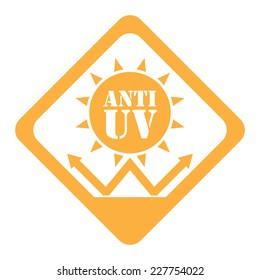 Orange Rhombus Anti UV Icon, Label or Sticker Isolated on White Background