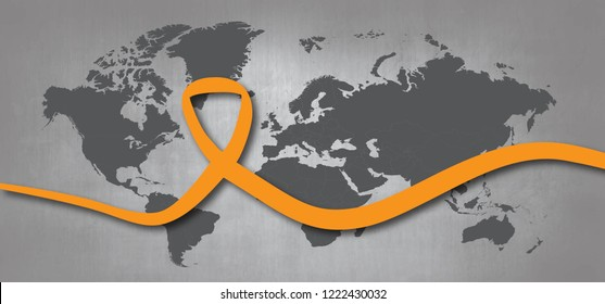 Orange ribbon Leukemia cancer awareness month World Vector eps November wording about International day elimination of Violence Against Women Blood vessels with disease spots Acute lymphoblastic dna