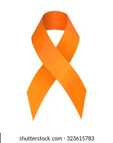 Orange ribbon symbolizing the problems christians killing, cruelty to animals, leukemia, multiple sclerosis, kidney cancer, attention deficit hyperactivity disorder, pain syndrome awareness