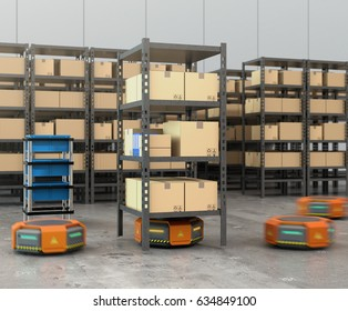 Orange robots carrying pallets with goods in modern warehouse.  Modern delivery center concept. 3D rendering image.