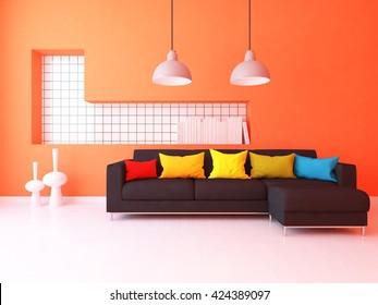 Orange room. Living room interior. Scandinavian interior. 3d illustration