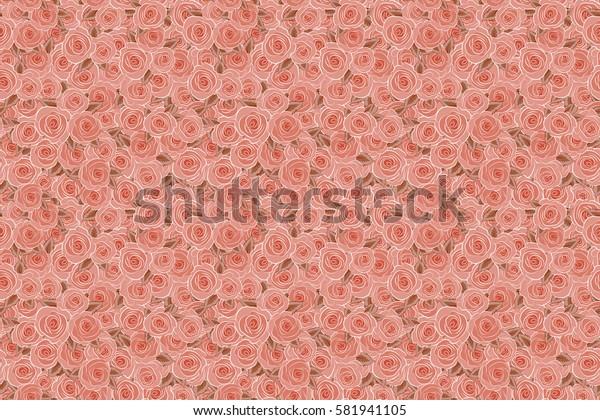 Orange roses. Raster floral seamless pattern.