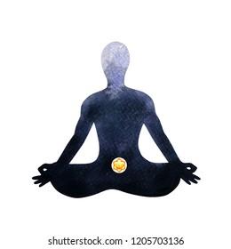 orange sacral chakra human lotus pose yoga, abstract inside your mind mental, watercolor painting illustration design hand drawn