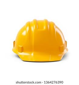 orange safety helmet isolated on white background. 3d illustration, 3d rendering