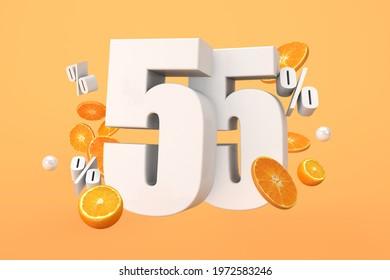 Orange sale 55% off, hot summer sale Promotion with cut oranges. 3D Render