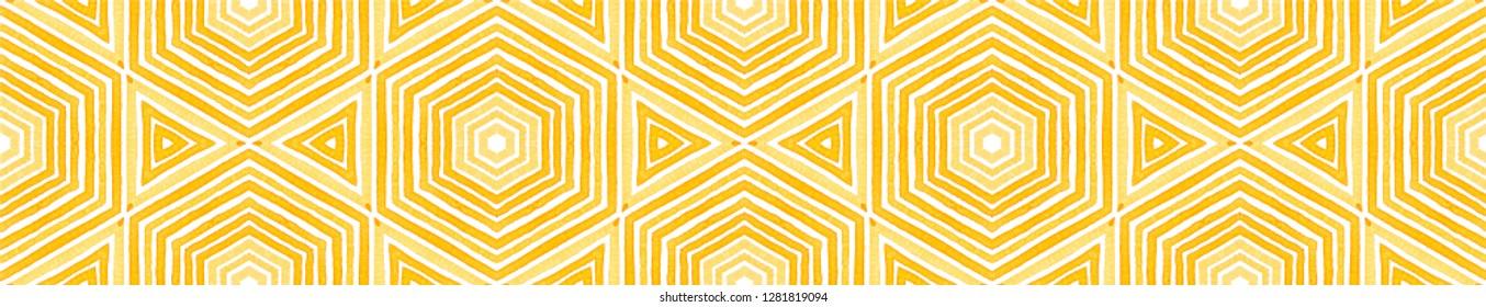Orange Seamless Border Scroll. Geometric Watercolor Frame. Amazing Seamless Pattern. Medallion Repeated Tile. Original Chevron Ribbon Ornament.