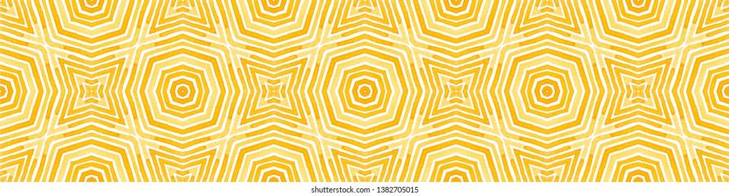 Orange Seamless Border Scroll. Geometric Watercolor Frame. Amazing Seamless Pattern. Medallion Repeated Tile. Modern Chevron Ribbon Ornament.