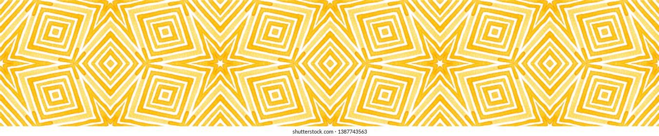 Orange Seamless Border Scroll. Geometric Watercolor Frame. Amazing Seamless Pattern. Medallion Repeated Tile. Positive Chevron Ribbon Ornament.