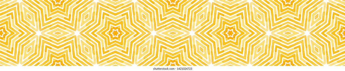 Orange Seamless Border Scroll. Geometric Watercolor Frame. Amazing Seamless Pattern. Medallion Repeated Tile. Precious Chevron Ribbon Ornament.