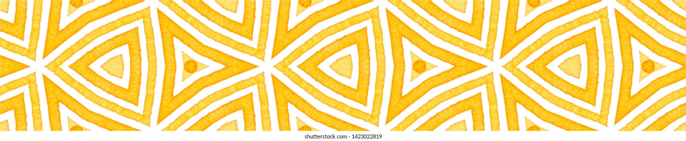 Orange Seamless Border Scroll. Geometric Watercolor Frame. Amazing Seamless Pattern. Medallion Repeated Tile. Remarkable Chevron Ribbon Ornament.
