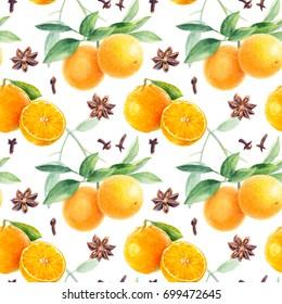 Orange seamless pattern. Orange fruit branch, anise, cloves hand draw watercolor illustration.